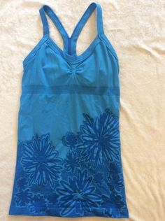 Zella Small Fitness Tank Turquoise Racerback Modern Floral Bra Top #zella #ShirtsTops