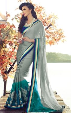 Glorious Grey and Cyan Green Color Chiffon Saree