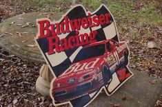 Vintage 90s Bill Elliott Budweiser Beer NASCAR Racing Embossed Metal Sign 34x32 #BUDWEISER