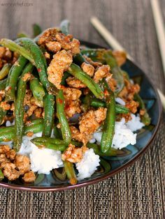 These Chinese Green Beans are my most popular dish of all time!  Substitute quinoa for rice for paleo.