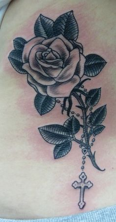 rose and cross tattoo - Google Search