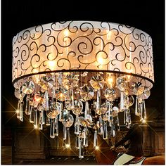 Cheap lamps plus ceiling fan, Buy Quality lighting television directly from China light emitting diode lamp Suppliers:  Modern Drum Shade Crystal Chandelier Lustres Crystal Fabric Pendant Ceiling Lamp Flushmount Light Fixture Luminiare