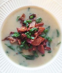 Potato Chorizo Soup 10 medium potatoes, peeled and chopped into 1 in. pieces  1 medium yellow onion, chopped  3 c chicken or bone broth 2 c water 2 T house seasoning (recipe posted in comments)  1 can coconut milk (don't shak....