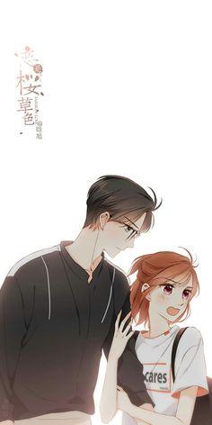 《恋是樱草色》Love is cherry pink Xu ye & Dai yixin Anime Cupples, Anime Couples Manga, Cute Anime Couples, Anime Guys, Anime Art, Anime Love Story, Anime Love Couple, Manga Love, Cute Couple Drawings