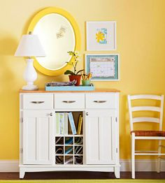 Love this repurposed piece as a  command center for a busy family- great colors, too! Via BGH