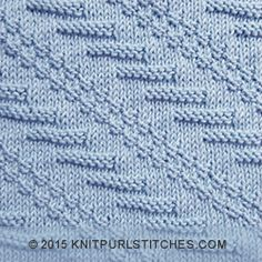 Knit and purl patterns | Instructions for working the Diagonal stitch in-the-round.