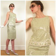 Vintage 1960s Cocktail Party Set of Skirt and Shell in Green Brocade by Eloise Curtis David Styne / Small. $70 Basya Berkman Vintage