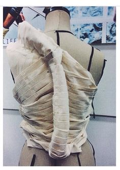 Draping on the stand - bodice design with pleated construction & artful 3D spine detail - fabric manipulation; couture techniques