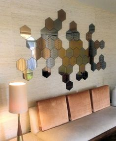 mirrors to be used - easily stick to wall, can make any design. $5.25/single hexagon