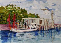 Original Art, Watercolor Painting, Painting, Realistic, Creek, Boat, Water…