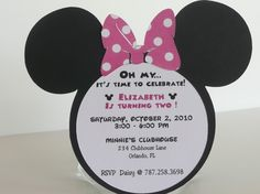Minnie Mouse Birthday Invitation  Pink