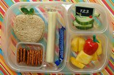 """Kid's Lunch"""" Use your cookie cutters to make cute sandwiches like this apple.  See more ideas for school lunch here"""