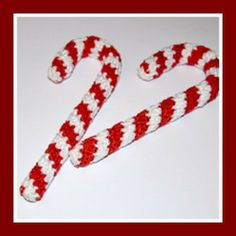 Ravelry: Candy Cane ornament, free pattern by MyGurumi Knit Christmas Ornaments, Crochet Christmas Decorations, Crochet Ornaments, Christmas Crochet Patterns, Holiday Crochet, Christmas Knitting, Christmas Candy, Christmas Tree, Christmas Ideas