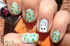 Easter Bunny and Carrots Nail Art