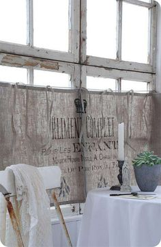 Love the burlap curtains ♥ Giving me a new idea for my own window treatments♥ instead of the white sheer.