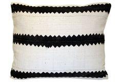 African Saw Stripe Mud Cloth  Pillow