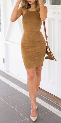 Women Spaghetti Strap Lace Up Back Bodycon Dress