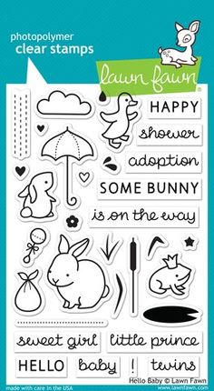 Lawn Fawn HELLO BABY Clear Stamps  LF673 /1.2