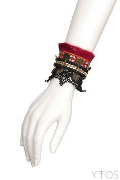 'Textile & Lace' Red & Black Double Bracelet