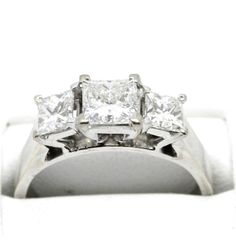 Three princess cut Diamonds, in a four claw setting. Purity: Here at Gold Coast Jewellery Loans, we aren't just a simple pawnbroker. Three Stone Diamond Ring, Princess Cut Diamonds, Gold Coast, White Gold, Engagement Rings, Jewels, Jewellery, Ebay, Enagement Rings