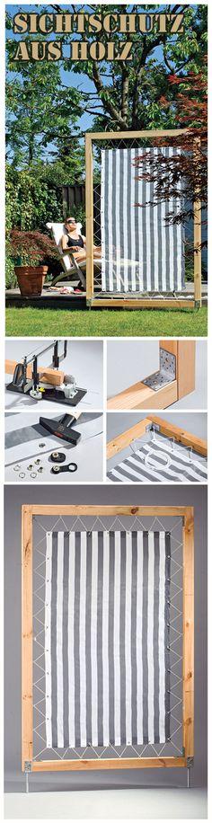 Ein simpler Sichtschutz ist schnell gebaut: Man benötigt nur Stoff, Holz und…
