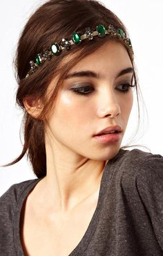 Green Gemstone Gold Chain Hair Accessories