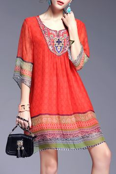 Red Printed Beading Ethnic Style Dress | Mini Dresses at DEZZAL