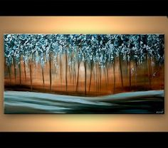 Original abstract art paintings by Osnat - Blue Forest Painting Modern Palette Knife