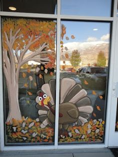 Fall turkey window mural - adorable!