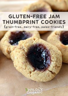 Gluten-free Jam Thumbprint Cookies are the perfect sweet treat for the holidays. Not only are they gluten-free, but they're also grain-free, dairy-free, and paleo-friendly. Wildly Organic Almond Flour and Coconut Oil give these cookies a nutritional boost.