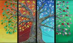 four panel canvas tree - Google Search
