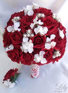 Red and White Wedding Bridal Bride Flower Bouquet with Roses and Gem Jewelry