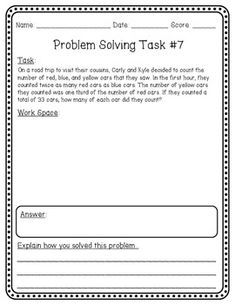 "Collection of 50 Problem Solving Tasks. Designed to address the Common Core ""Standards for Mathematical Practice"""