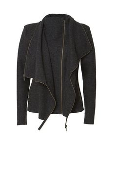 Gro a Live Anthropologie Boiled Wool Asymmetric Layer Zipper Moto Jacket Black  #GroaLiveCaschCopenhagen #Motorcycle