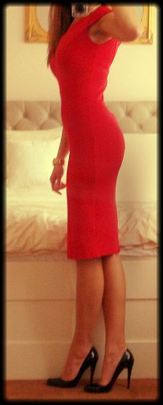 Red Dress by DolceDanielle. If only those pumps were Louboutins!