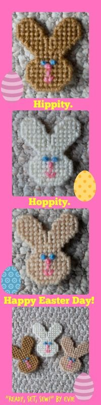"""Plastic Canvas: Bunny Magnets (set of 3), """"Ready, Set, Sew!"""" by Evie -- Here are some bunnies who are """"hoppy"""" to help hold your grocery list or """"to do's"""" with springy style."""