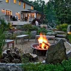 lower patio with fire pit