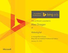 WebDigital, singura agentie din Romania specializata in PPC Marketing, are acum un membru certificat in Bing Ads. Felicitari, Alex Dragan! Suntem mandri de tine!