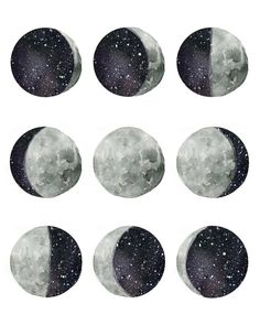 Artistically interpreted phases of the moon. Original hand painted watercolor design Comes in size with high quality inks on watercolor textured paper Illustration Art, Illustrations, Moon Art, Moon Phases Art, Moon Moon, Moon Phases Drawing, The Moon, Moon Drawing, Luna Moon