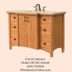 48 Modern / Contemporary Bamboo Bathroom Vanity : Boston, NY. NY. CT. FL. PA. CA #CustomBuildfromDHCabinetry