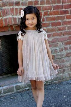 Charabia Light Pink Pleated Cap Sleeve Dress - presh for the flower girls! Little Girl Fashion, Fashion Kids, Tight Dresses, Cute Dresses, Little Girl Dresses, Girls Dresses, Paris Girl, Kind Mode, Baby Dress