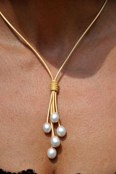 Pearl and Leather Necklace  Large 15mm White Rice Freshwater