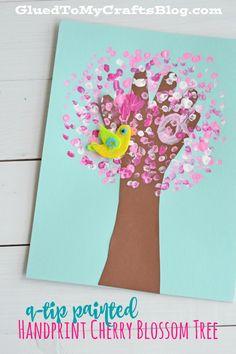 Q-Tip Painted Handprint Cherry Blossom Tree - Kid Craft