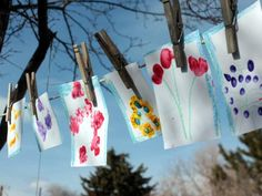 Fingerprint Flowers. It's so easy to make flowery art with fingerprints, and there's no reason to limit these pretty flowers to paper. Make a pretty gardening vest! Or a book bag! Or a series of tiles for the wall. Whatever you choose is sure to be lovely!