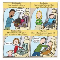 Classic issues of getting a toddler into their carseat