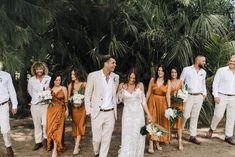 Groomsmen Attire Beach Wedding, Linen Wedding Suit, Groomsmen Outfits, Bridesmaids And Groomsmen, Tan Suits For Wedding, Groom And Groomsmen Suits, Burnt Orange Bridesmaid Dresses, Burnt Orange Weddings, Grooms Party