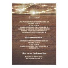 Shop Sttring Lights Rusti Wood Wedding Details Enclosure Card created by jinaiji. Personalize it with photos & text or purchase as is! Rustic Wedding Details, Wedding Details Card, Barn Wedding Invitations, Wedding Invitation Design, Shower Invitations, Invites, Wedding Direction Cards, Wedding Cards, Wedding Tips