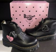 dr martens lazy oaf collab heart buckle boots size UK 7 / US 9 Brand new with box. PM me with any questions! Dr Shoes, Hype Shoes, Sock Shoes, Me Too Shoes, Fancy Shoes, Pretty Shoes, Dr. Martens, Doc Martens Outfit, Aesthetic Shoes