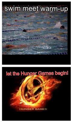 Swim meet warm-up... Let the Hunger Games begin! SO TRUE