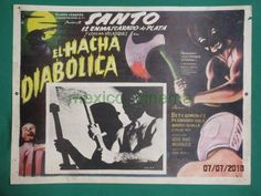 THE DIABOLICAL HATCHET Horror ZOMBIE BAT EXECUTIONER SANTO MEXICO LOBBY CARD 1